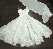 VTG 70s Lillie Rubin WHITE Lace DRESS Edwardian Wedding Boho Gunne Sax XS S 2 4