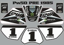 pw50 decals graphics yamaha pw 50 personal peewee laminated stickers old BLACK