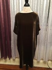 NWT $338 Eileen Fisher Serpentine Velvet Bateau Neck Dress sz LRG