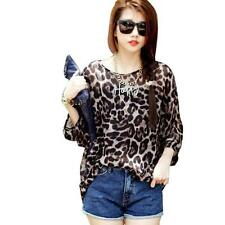 2015 Women Chiffon Blouse Leopard Batwing Sleeve Bohemian Tops 4221 WHOLESALE
