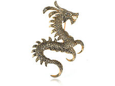 Antique Gold Alloy Metal Chinese Dragon Costume Jewel Pin Brooch SU
