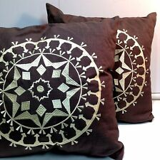 "New! 2 Rizzy Home Decorative Linen Embroidered Pillow Brown 18"" x 18"""