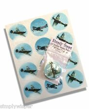 12 Spitfire Planes Cupcake Decoration Edible Cake Toppers Pre Cut 40mm Airplane