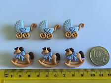 Baby blue carriage  rocking horse Novelty Buttons by Dress It Up 5823