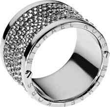 Michael Kors Silver Pave Thick Barrel Ring Gunmetal Paave Size 8