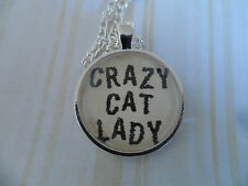 Crazy Cat Lady, Altered Art Cameo Pendant Necklace, Cabochon Jewellery, 25mm