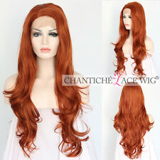 Women's Lace Front Synthetic Hair Wig Orange Red Long Natural Wavy Heat Friendly