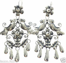 FRIDA KAHLO DESIGN TAXCO MEXICAN STERLING SILVER LOVEBIRD FLOWER EARRINGS MEXICO