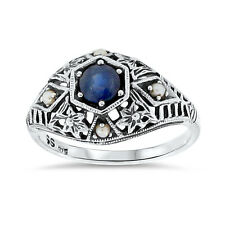ANTIQUE ART DECO STYLE GENUINE  SAPPHIRE SEED PEARL .925 SILVER RING Sz 9, #69