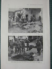 1915 WWI WW1 PRINT ~ FRENCH & BRITISH WOUNDED HOSPITAL TRAIN BASE HOSPITAL