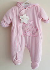 NEWBORN/BABY VELOUR PRAM SUIT/SNOW SUIT PINK/CREAM - NEWBORN TO 6 MONTHS