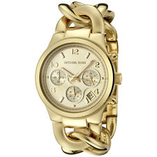 New Michael Kors Twist Gold Chain Link Stainless Steel Chrono MK3131 Women Watch