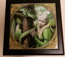"Anne Stokes Designer Fantasy Art Tile Wooden Box ""Kindred Spirits"" w/ Mirror"