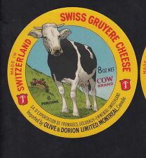 Ancienne  étiquette Fromage  Suisse   BN10329  Gruyère Vache  Montréal Canada