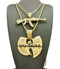"NEW ICED OUT MACHINE GUN & WU-TANG PENDANT 24"" & 30"" BOX CHAIN NECKLACE RC2052G"