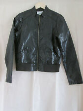ladies BLACK PVC FAUX LEATHER LOOK COAT UK SIZE 12