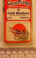 Lock washer #8 - Great Planes cat: GPMQ3436 - pack of 8