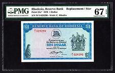 1978 Rhodesia $1 Replacement W/1  P. 34c PMG 67 Superb GEM UNC EPQ Repeater 2929