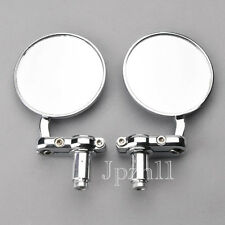 "Motorcycle CNC Aluminum 3"" Round Rearview HandleBar 7/8"" Side Mirrors Chrome J5B"