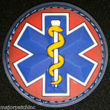 EMT STAR 3D PVC EMS MEDIC TACTICAL CROSS USA ARMY RED WHITE MEDICAL VELCRO PATCH