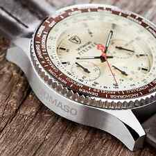 DETOMASO Firenze Mens 42mm Chrono Watch Seiko Brown Leather Beige Dial New