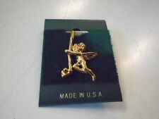Gold Golf Club Angel  Pin Made in USA New Jewelry Cupid