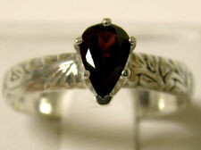 1ct natural red pear garnet deco antique 925 sterling silver ring size 8.5 USA