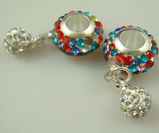 Gorgeous Czech Crystals Dangle Bead fit European Charm 925 Bracelet Earring a1