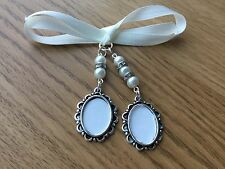 Bridal Bouquet Double Oval Photo Frame Memory Charm Wedding Swarovski Beads