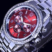 Excellanc Uhr Damenuhr Armbanduhr Rot Silber Farben Metall Strass Si 56