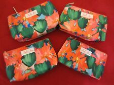 LOT OF 4 CLINIQUE Lulu DK Cosmetics Makeup Bag Floral Coral Lined NEW Travel Bag
