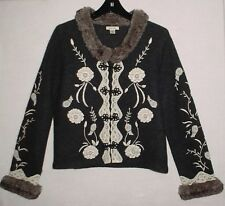 TYLER BOE Ladies L Wool Cardigan w/Embroidery/Lace/Faux Fur Collar, Black/Ivory