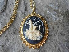 GODDESS DIANA THE HUNTRESS CAMEO GOLD TONE PENDANT NECKLACE - UNIQUE - DEER