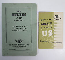 1952 The Austin A40 Models Running and Maintenance Instructions Vtg Auto Manual