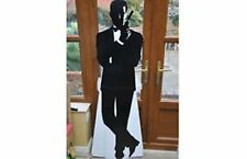 "Large Stand up JAMES BOND cardboard figure with gun black/white 1.7m / 67"" tall"