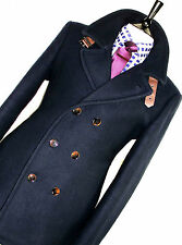 BNWT LUXURY MENS TED BAKER LONDON NAVY SUIT PEACOAT OVERCOAT JACKET COAT 42R