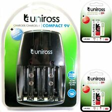 Uniross Compact wall Mains Battery Charger and 2 x Uniross 9v 200mAh Ni-Mh