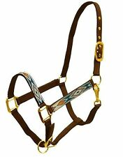 Full Size Adjustable Diamond Brown/Orange/Teal Nylon Halter with Brass Hardware