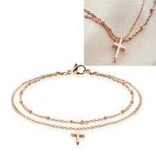 Sexy Cross Charm Rose Gold Stainless Steel Beads Double Link Anklet Chain P16
