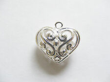 1 Silver Plated Copper Hollow Heart Pendant - 21mm