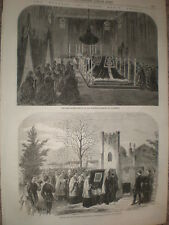 Funeral Queen Marie Amelie of Naples and Sicily Claremont & Weybridge 1866 print