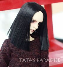 "BJD Doll Hair Wig 8-9"" 1/3 SD DZ DOD LUTS Black Straight Parted in the middle"