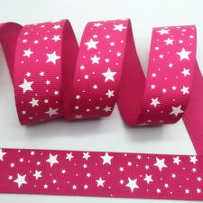 NEW~ 5 Yards 1Inch 25mm Wide Printed Grosgrain Ribbon Hair Bow DIY Sewing #A090