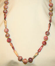 Lovely Speckled Earth-Toned Maroon Green Goldtone Shaped Beads Pendant Necklace