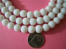 """3 11.5"""" Strands (120 pcs total) Classic Bright White 8mm Round Glass Beads"""