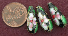 THREE 21MM FLORAL BOTTLE CLOISONNE BEAD