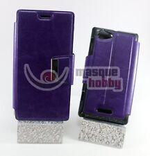 Funda Carcasa Libro Iman Soporte Sony Ericsson Xperia L s36h Morado NUEVO