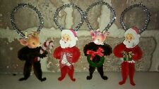 4 Vintage Style Christmas Chenille Santa and Deer  Ornaments
