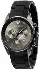 Authentic Emporio Armani AR 5889, Full Black Silicone Chronograph watch