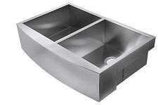 "33""Stainless Steel Hand Made Farm House Apron Sink  60/40 Double Bowl & Drainer"